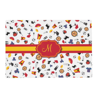 Spanish items with flag to add your monogram placemat