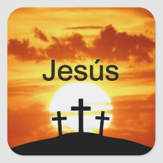 Spanish Jesús Calvary Sunrise Square Sticker
