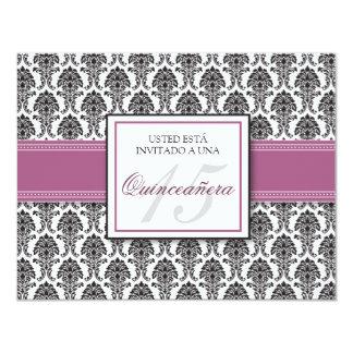 SPANISH Lavender Damask Quinceañera Invitación Personalized Announcements