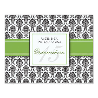 SPANISH Lime Green Damask Quinceañera Invitación 11 Cm X 14 Cm Invitation Card