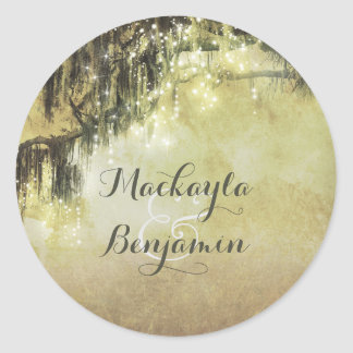 Spanish Moss Tree - Oak Wedding Classic Round Sticker