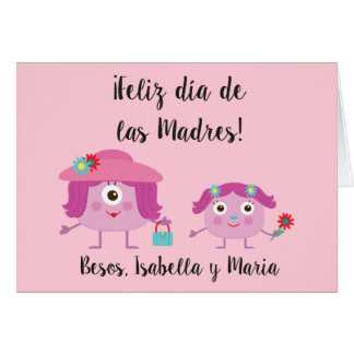 Spanish Mother's Day Greeting Card with Monsters