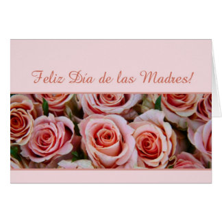 Spanish Mother's Day pink roses Card