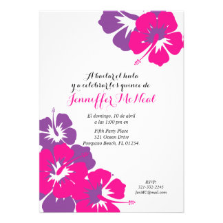 spanish pink purple QUINCEANERA LUAU birthday 13 Cm X 18 Cm Invitation Card