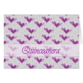 Spanish Quinceañera Pink Purple Hearts Card