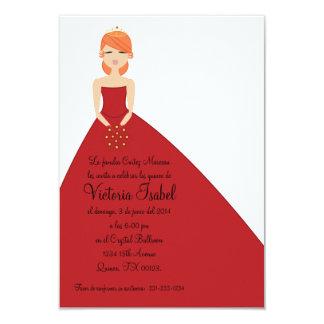 spanish RED PRINCESS quinceañera quince invitation