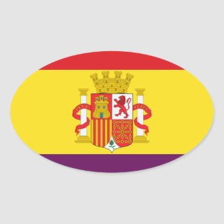Spanish Republican Flag - Bandera República España Oval Sticker