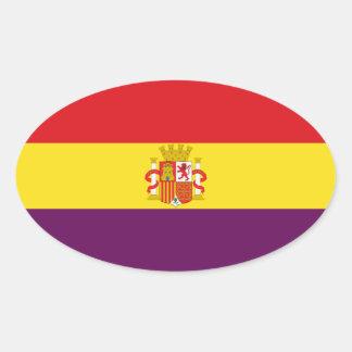 Spanish Republican Flag - Bandera República España Oval Sticker
