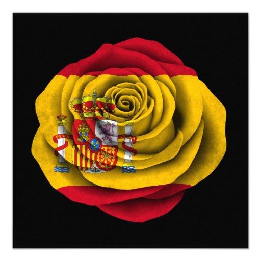 Spanish Rose Flag on Black Custom Invitations