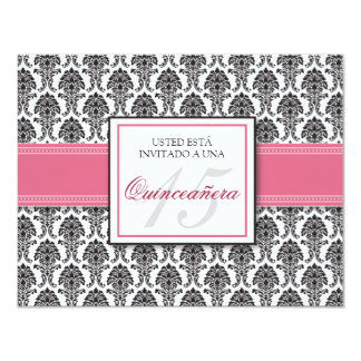 SPANISH Rose Pink Damask Quinceañera Invitación 11 Cm X 14 Cm Invitation Card
