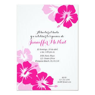 spanish shades of pink QUINCEANERA LUAU invitation