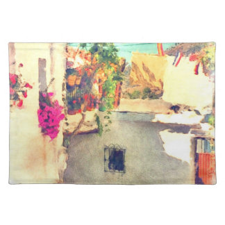 Spanish Side Street Watercolor Place Mats