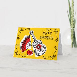 Spanish Souvenirs Corners Birthday Text horizontal Card