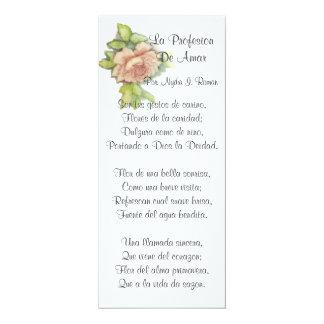 Spanish ST. Valentine's Poem-Customise 10 Cm X 24 Cm Invitation Card
