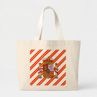 Spanish stripes flag large tote bag
