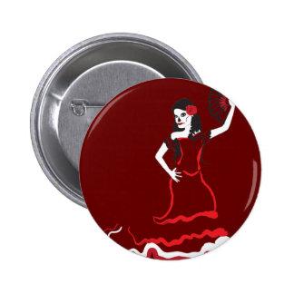 spanish sugar skull dancer 6 cm round badge