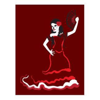 spanish sugar skull dancer postcard