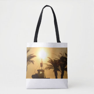 Spanish sunset Ship Palms Photo Tote Bag