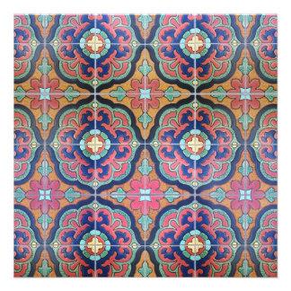 Spanish Tile Floret - Orange and Blue Custom Invite