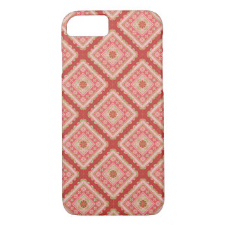 Spanish Tile - flowers and stripes_coral iPhone 8/7 Case
