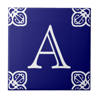 Spanish Tile Letter -White on Blue