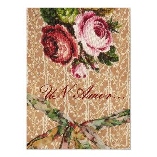 "Spanish Wedding Invitation"" Tapestry & Roses"" 14 Cm X 19 Cm Invitation Card"