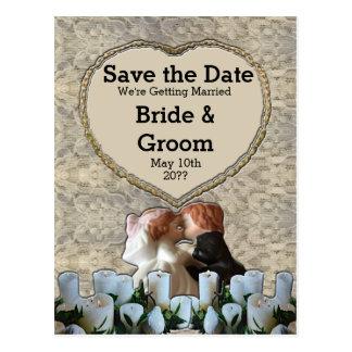 Spanish White Bride & Groom Save the Date Postcard