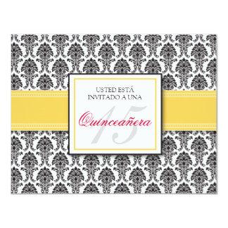 SPANISH Yellow Damask Quinceañera Invitación 11 Cm X 14 Cm Invitation Card