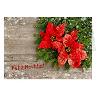 Spanishn Christmas - Christmas tree, Poinsettia Card