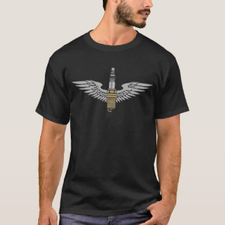 spark plug with wings cool fun engine car combusti T-Shirt