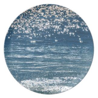 Sparking Blue Ocean Melamine Plate