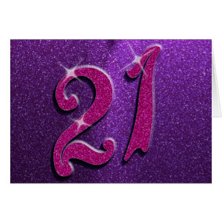 Sparkle 21st Pink and Purple Greeting Card