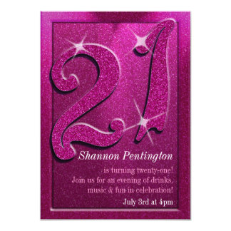 Sparkle 21st Pink Birthday Party Invitations