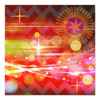 Sparkle and Shine Chevron Light Rays Abstract 5.25x5.25 Square Paper Invitation Card
