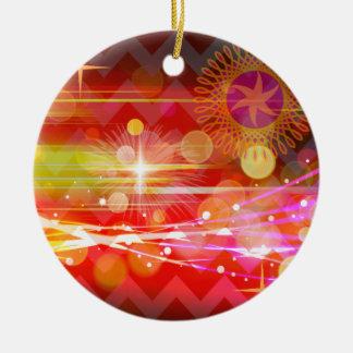 Sparkle and Shine Chevron Light Rays Abstract Round Ceramic Decoration