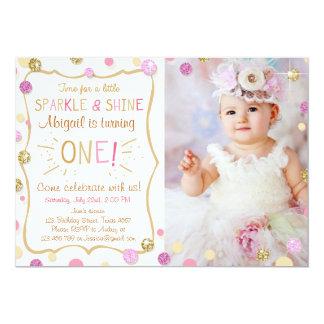 Sparkle and Shine Gold Glitter Birthday Invitation