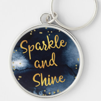 Sparkle And Shine Gold & Watercolor Typography Art Key Ring