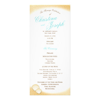 Sparkle Beach Golden Seashell Wedding Program Full Colour Rack Card