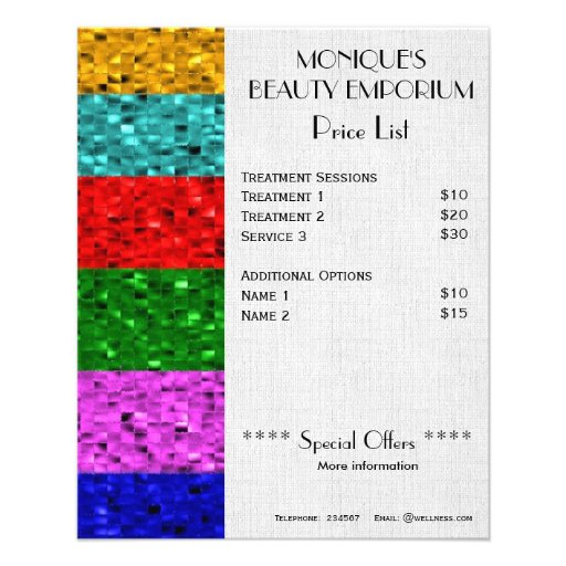 Sparkle Beauty hair and nails price list flyer