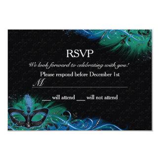 Sparkle Blue & Green Feather Mask Masquerade RSVP 9 Cm X 13 Cm Invitation Card