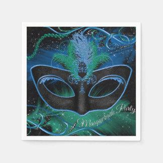 Sparkle Blue & Green Mask Masquerade Party Napkin Paper Napkin