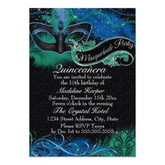 Sparkle Blue & Green Mask Masquerade Quinceanera 13 Cm X 18 Cm Invitation Card