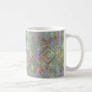 sparkle c initial coffee mug