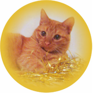 Sparkle Cat Holiday Ornament Photo Cut Outs