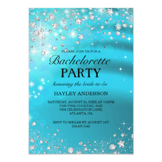 Sparkle Diamond Blue Bachelorette Party Invitation