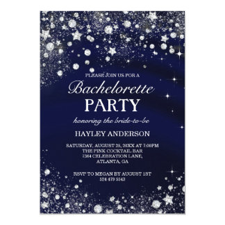 Sparkle Diamond Blue Bachelorette Party Invite