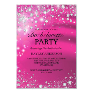 Sparkle Diamond Pink Bachelorette Party Invitation