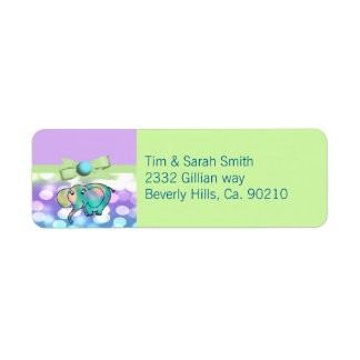 Sparkle Dots Pastel Elephant Baby Shower Return Address Label