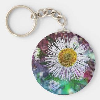 sparkle flower basic round button key ring