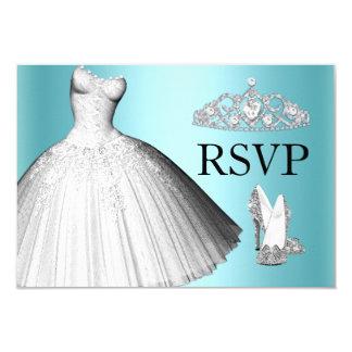 Sparkle Glitter Dress & Heels Quinceanera RSVP Invite